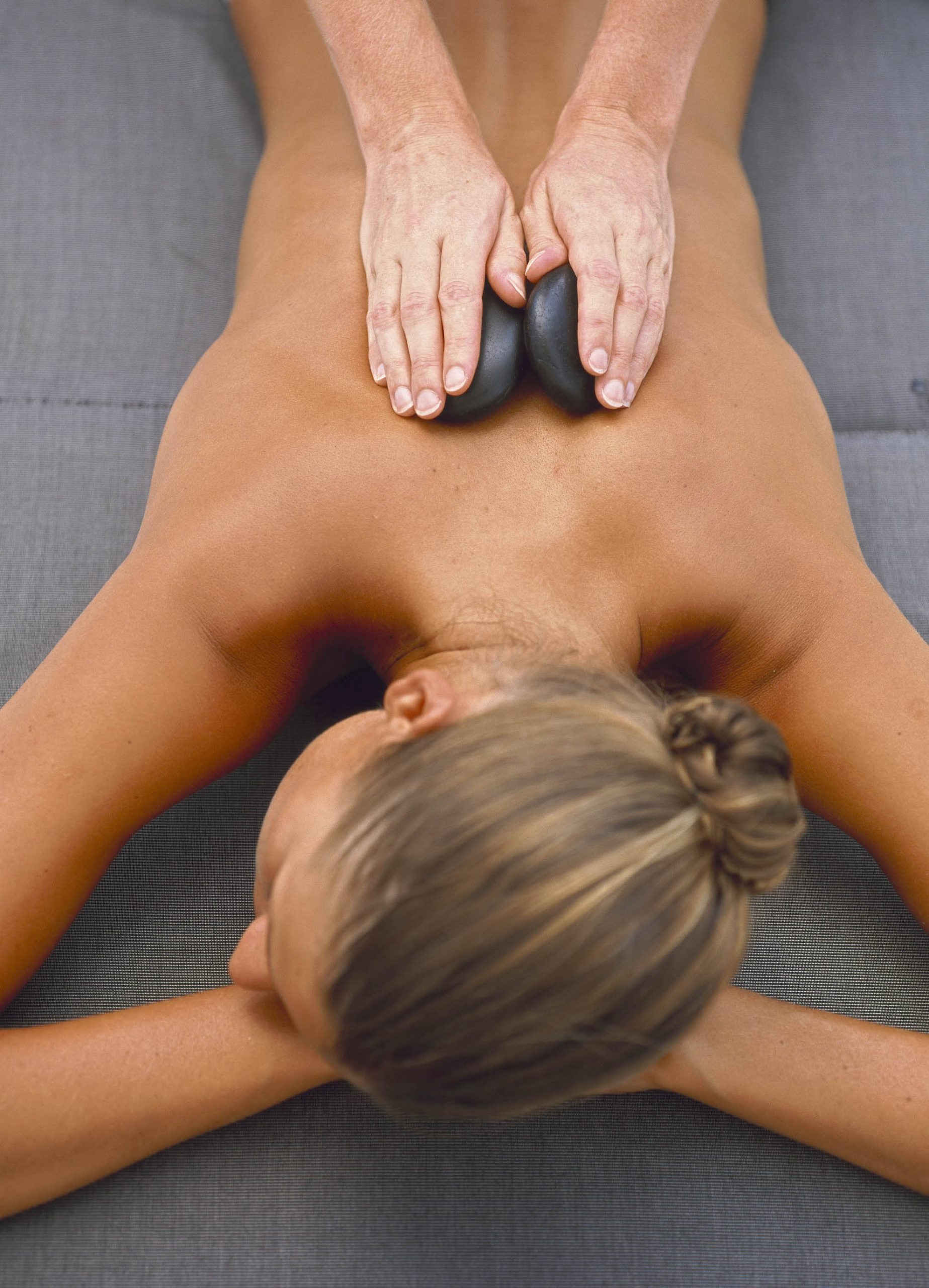 Bodycare. Blonde Model - Back Massage with Aroma Stones. JPEG
